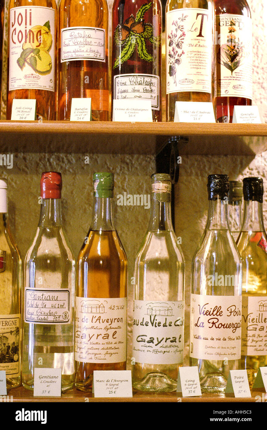 Paris France, French Regional Products ALCOHOLS Bottles Made in 'Auvergne Region' Display in Restaurant 'Ambassade d'Auvergne' - Stock Image