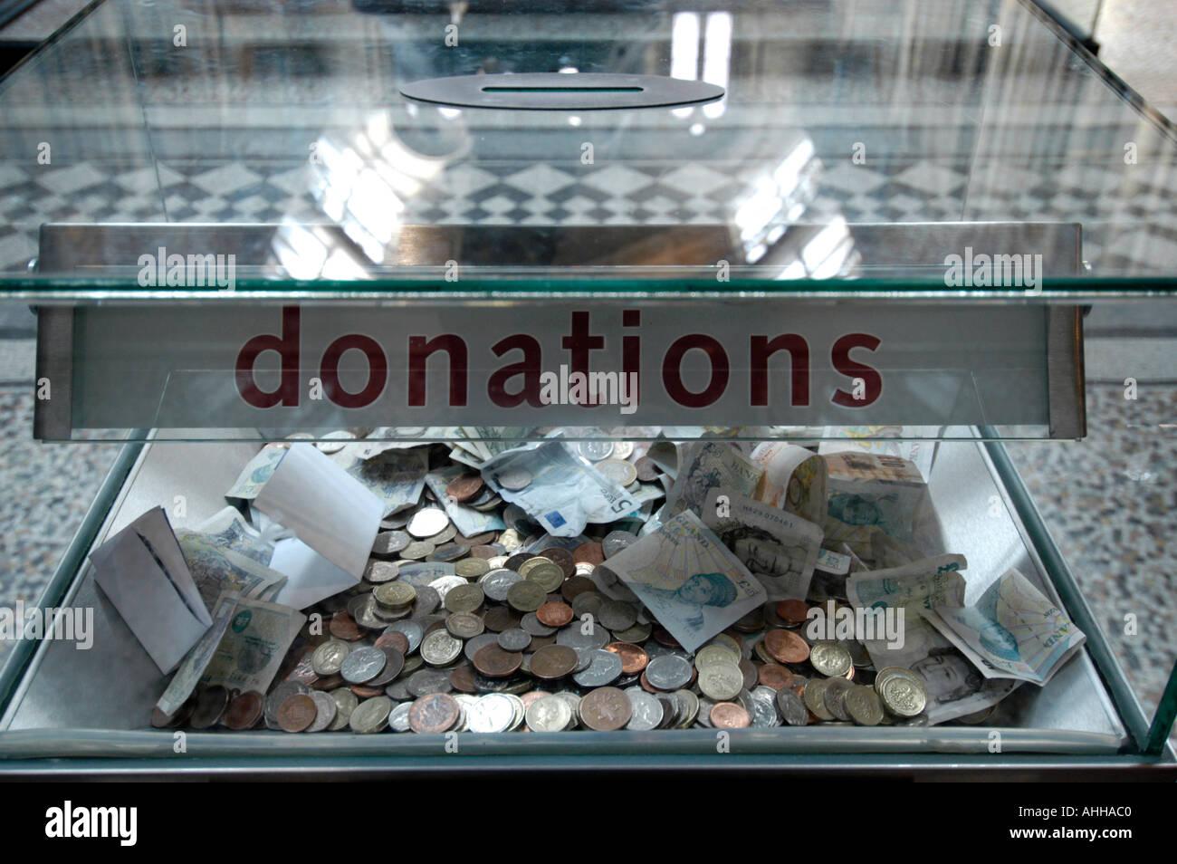 Museum donations box, London, England UK - Stock Image