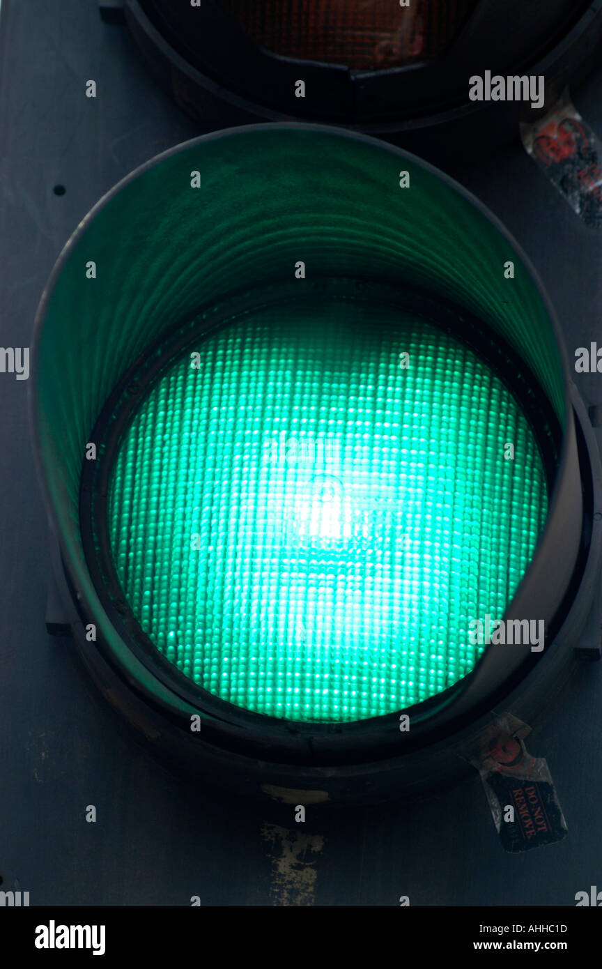 Green go traffic light sign London England UK - Stock Image