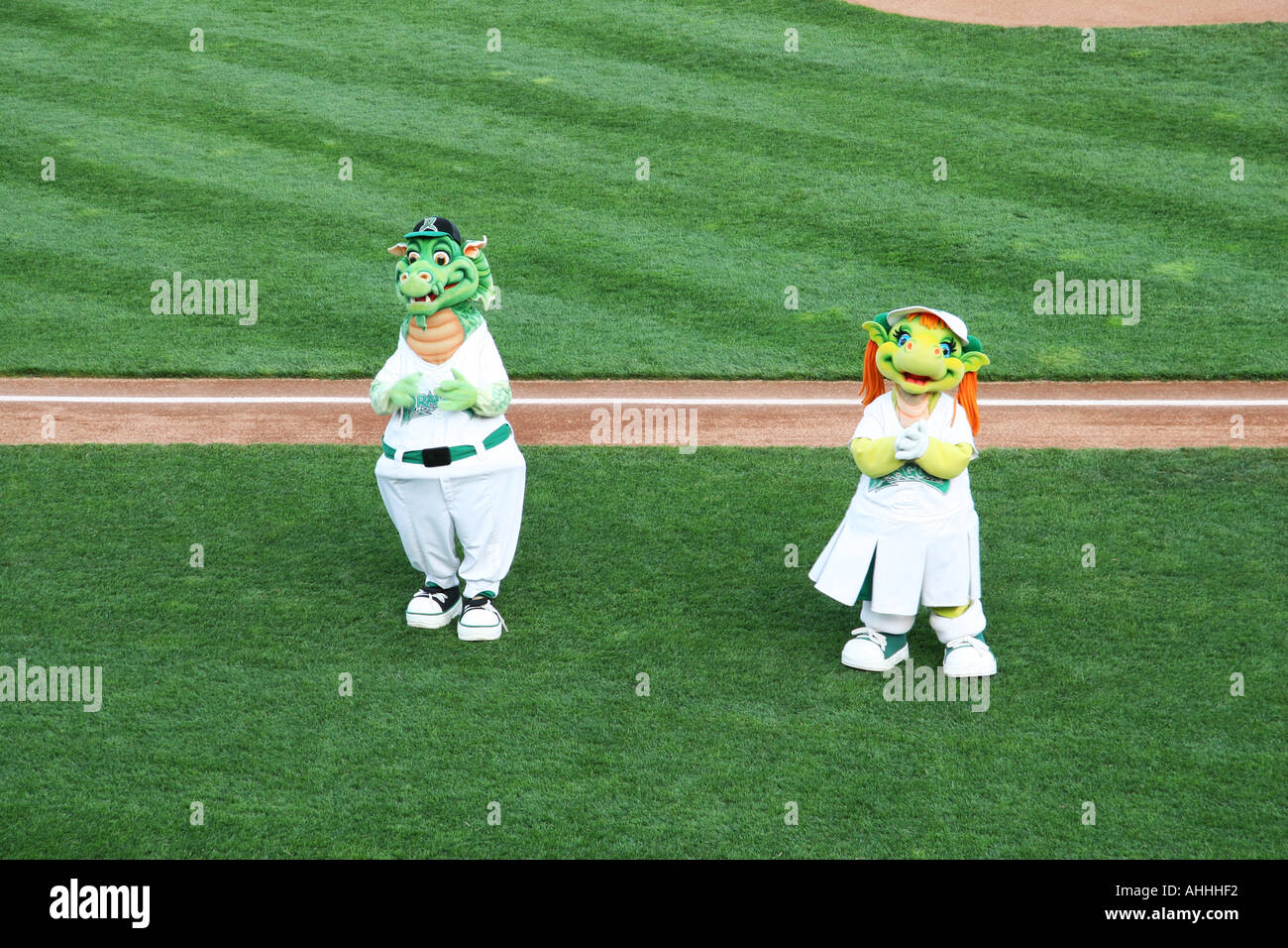 Heater and Gem the Dayton Dragons Mascots perform for