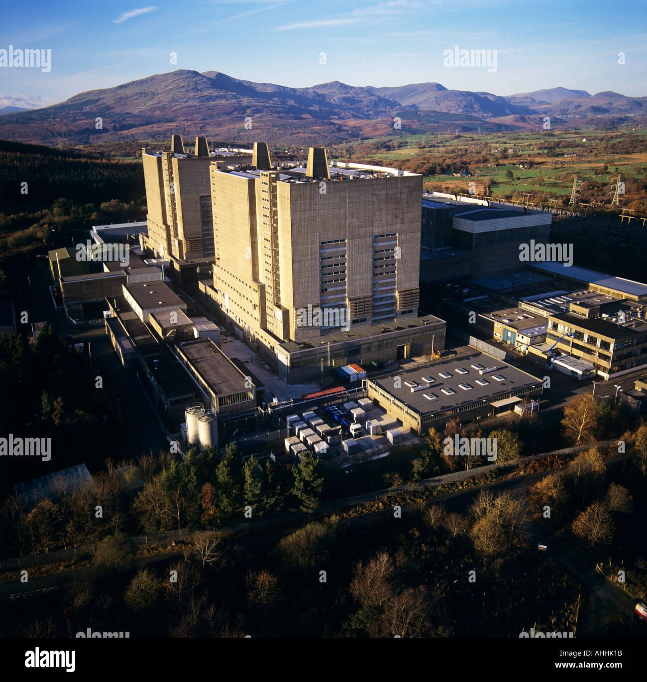 Trawsfynydd Nuclear Power Station Gwynedd Wales UK aerial view Stock Photo
