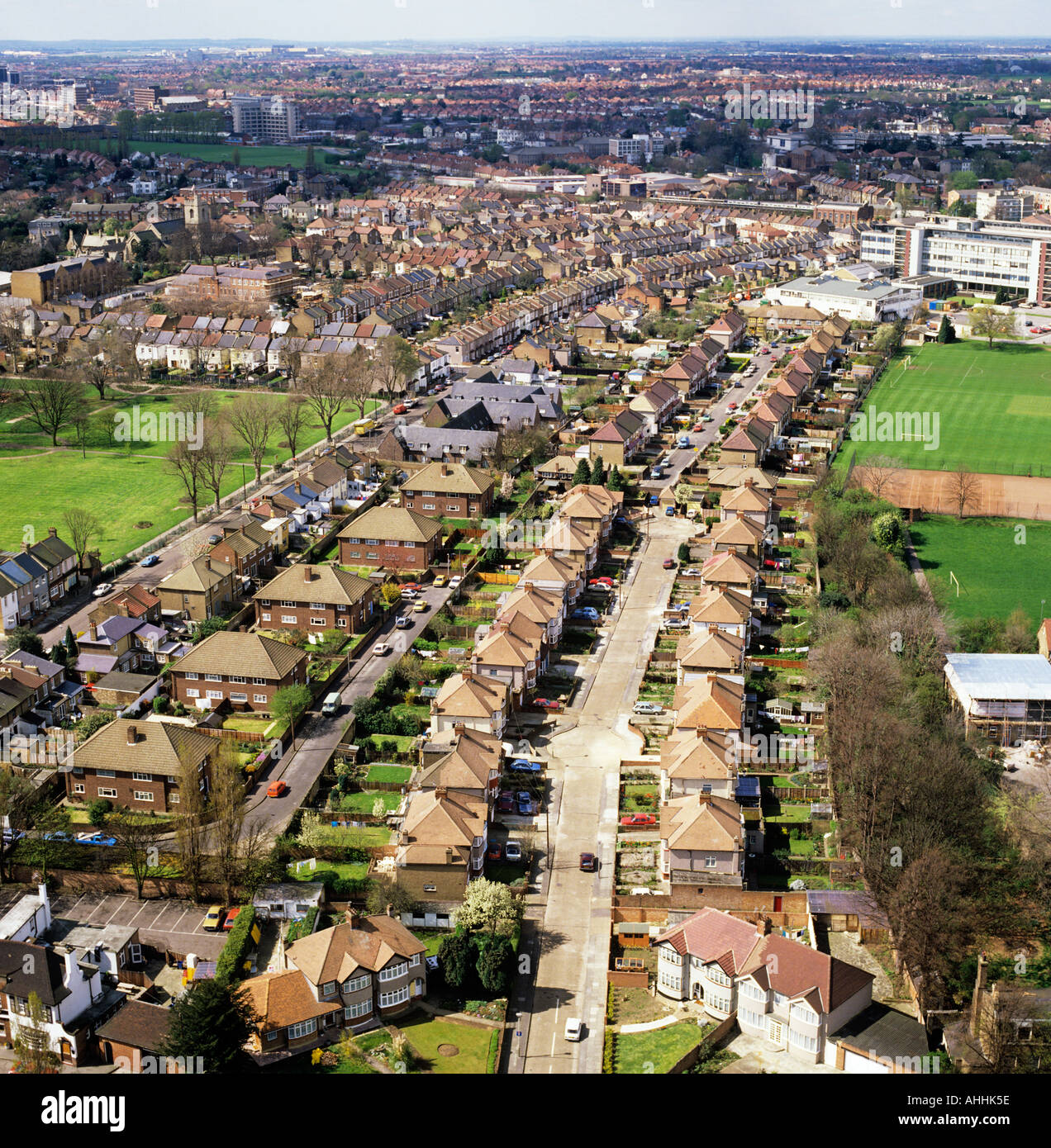 Suburban housing Middlesex UK low aerial view - Stock Image