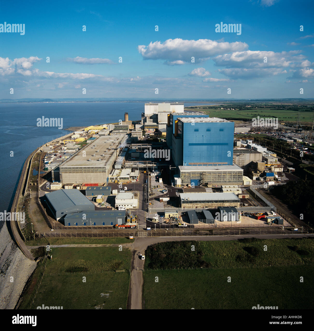 Hinckley Point Nuclear Power Station Severn Estuary UK aerial view - Stock Image