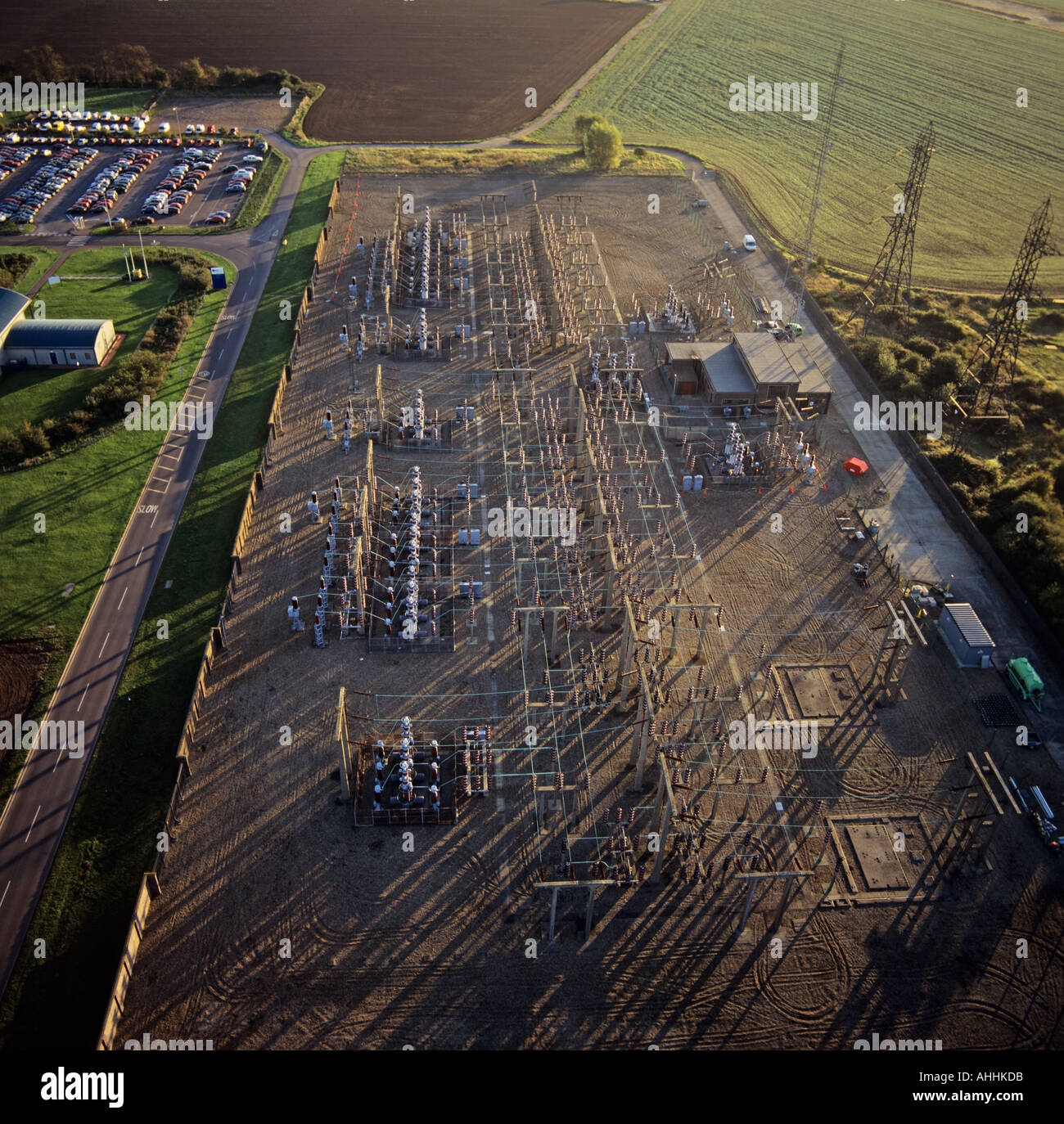 Electricity generation Bradwell Essex UK aerial view - Stock Image