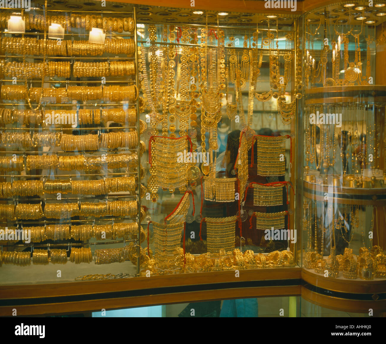 UAE Dubai Middle East Gulf State Yellow Gold jewelry displayed in