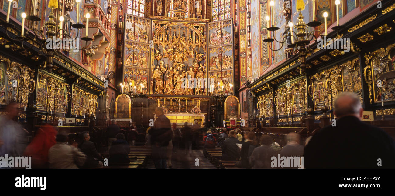 nave of the Church of Our Lady in Krakau, Poland, Cracow - Stock Image