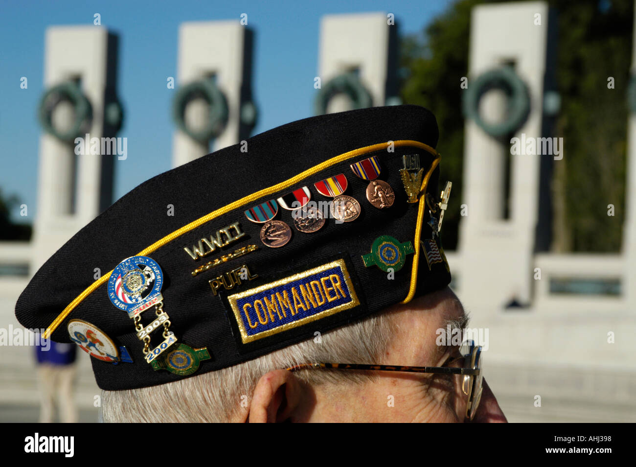 0aeb2d82a3b Medals on the cap of a veteran visitor to The World War Two Memorial on the  Mall Washington DC