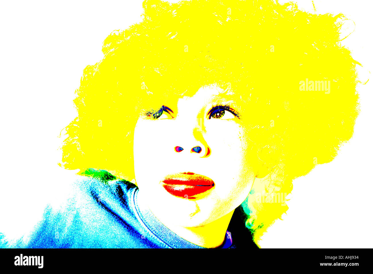 kid young male three four five six wearing a silly yellow wig pop art solarised bleeched colours cross processed crossprocessed  - Stock Image