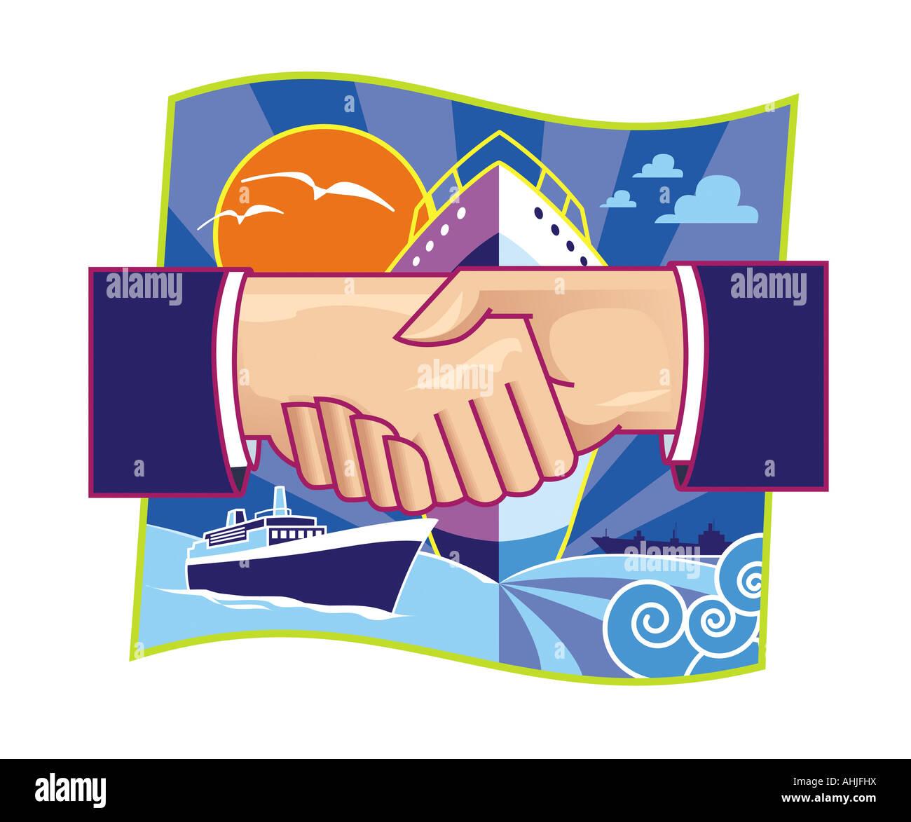 Shiping partnership illustration - Stock Image