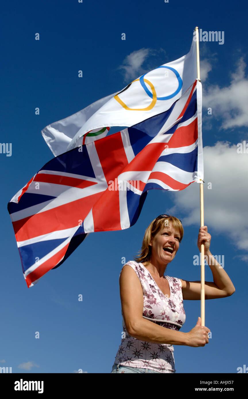 Female olympic games spectator - Stock Image