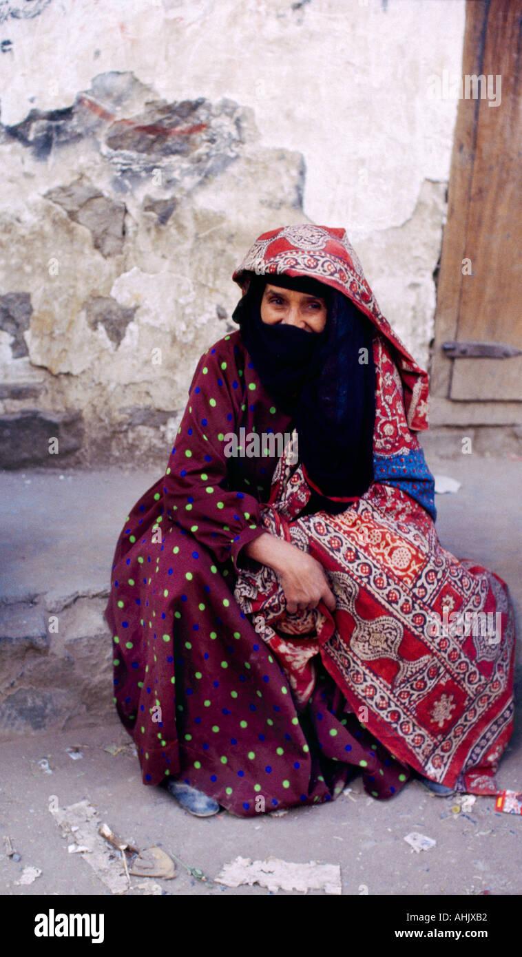 Sanaa Yemen Veiled Woman Yashmak - Stock Image