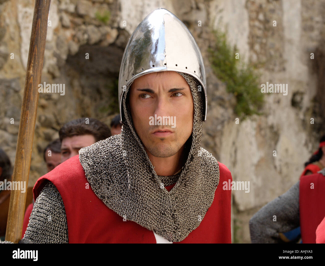 Man at arms in medieval procession in Amalfi Italy during the