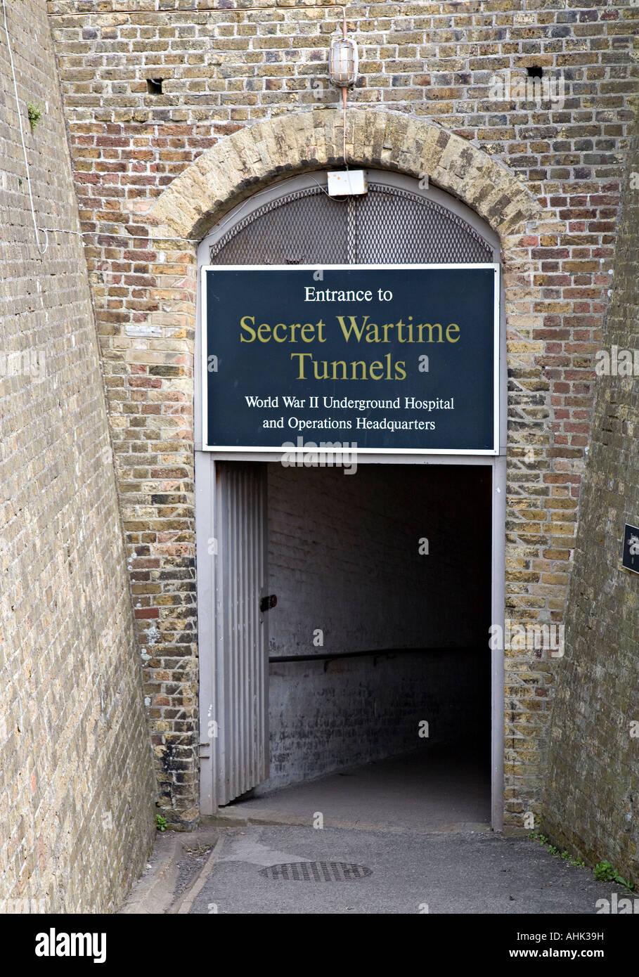 Entrance to the Secret Wartime Tunnels Dover Castle England UK - Stock Image