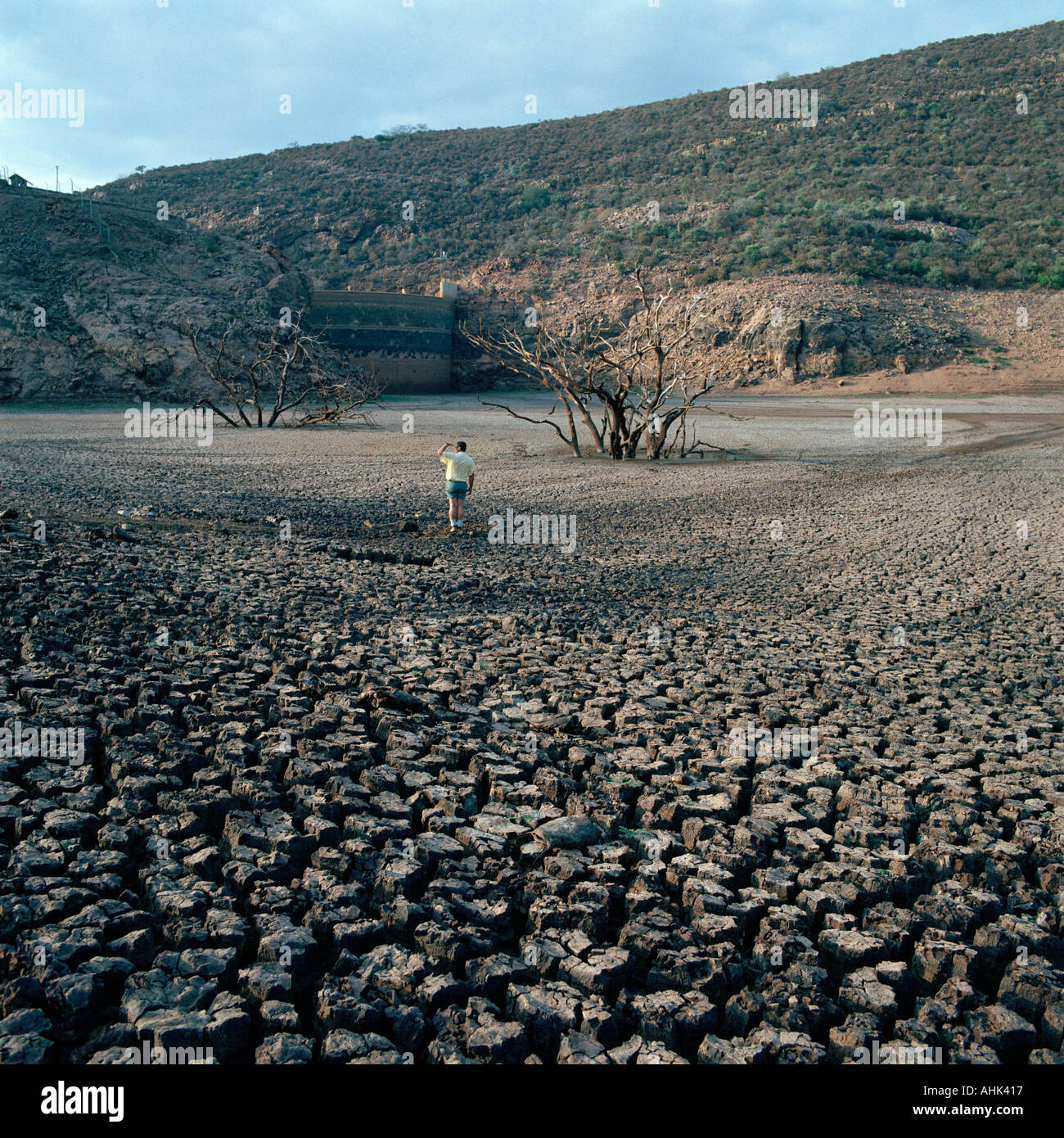 Bed of the dried up Njelele Dam in Venda, South Africa during a time of periodic drought. - Stock Image