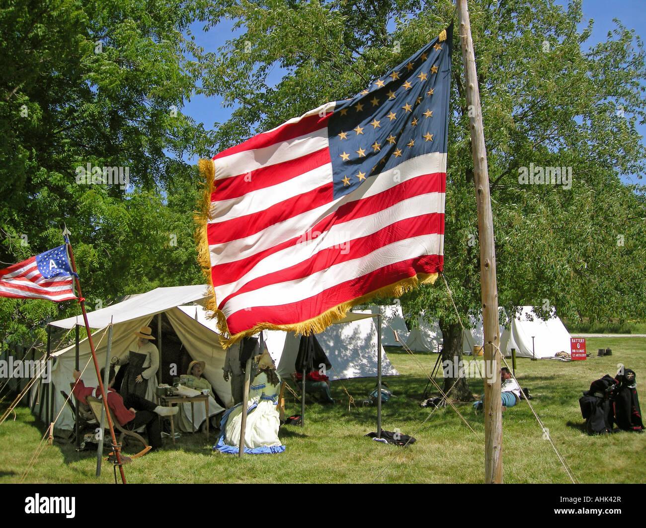 US Union Civil War Artillary Re-enactment - Stock Image