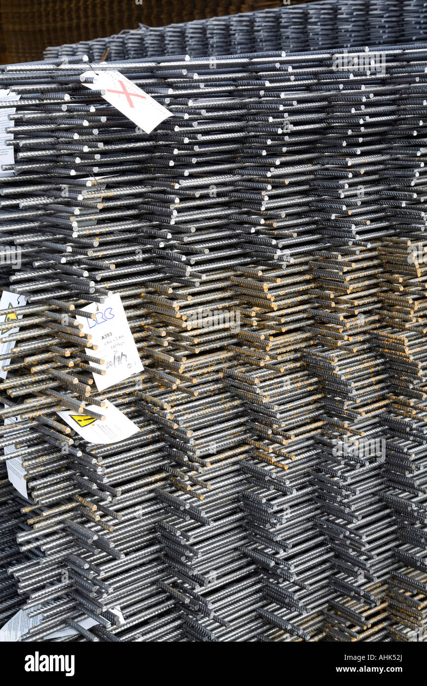Pile of wire re-inforcement sheets - Stock Image