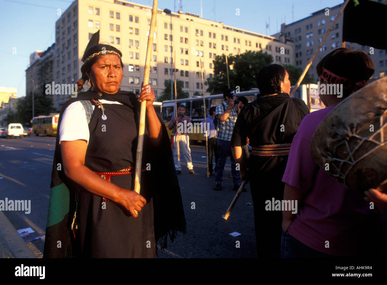 Chile Santiago Native Indians from Puerto Mapuche march for Socialist candidate Ricardo Lagos before presidential Stock Photo