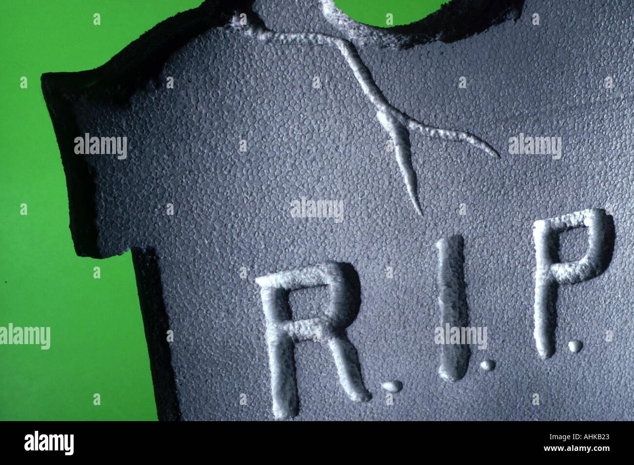 Halloween tombstone decoration close up - Stock Image