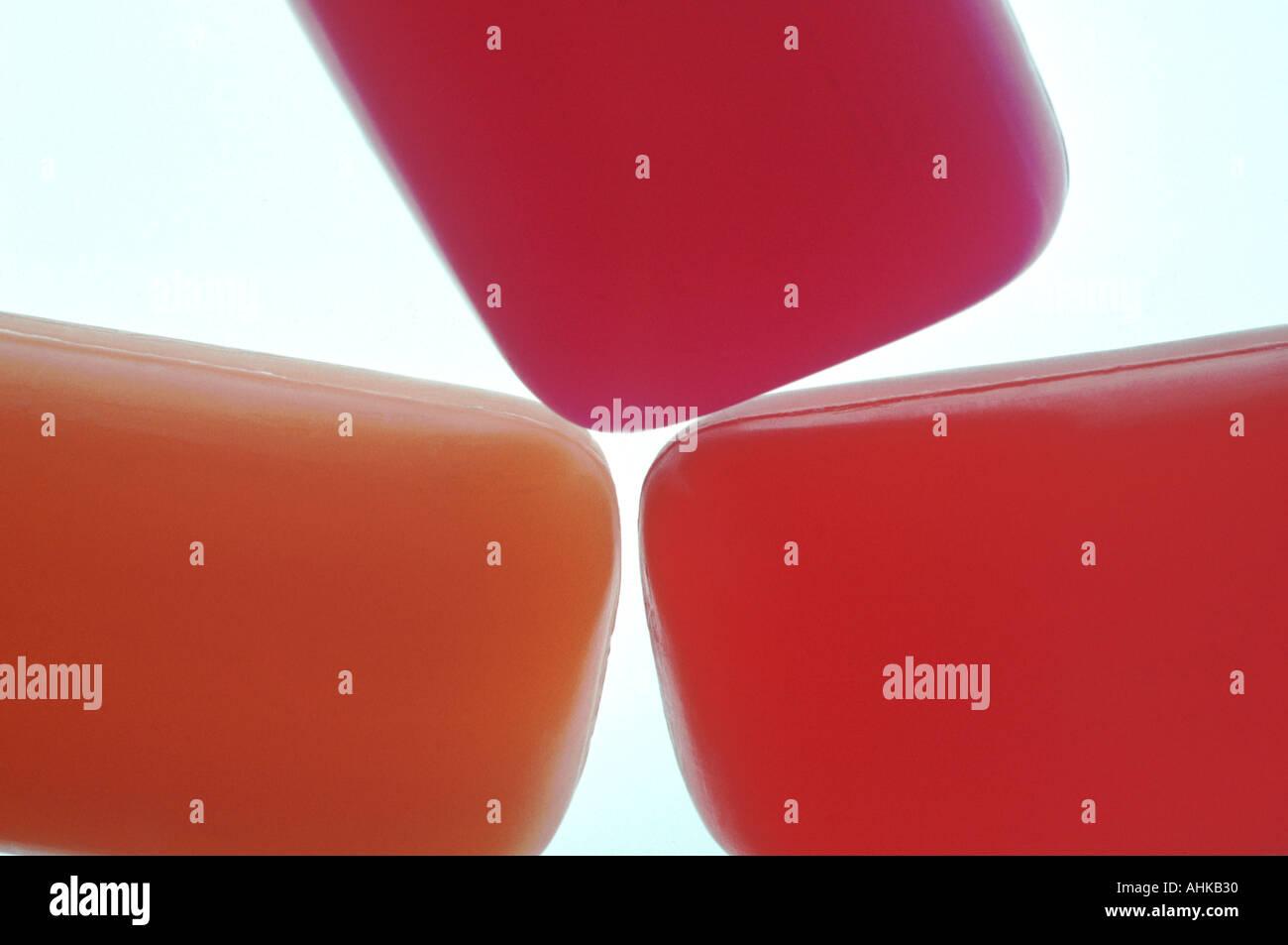 Three glycerin soap bars close up - Stock Image