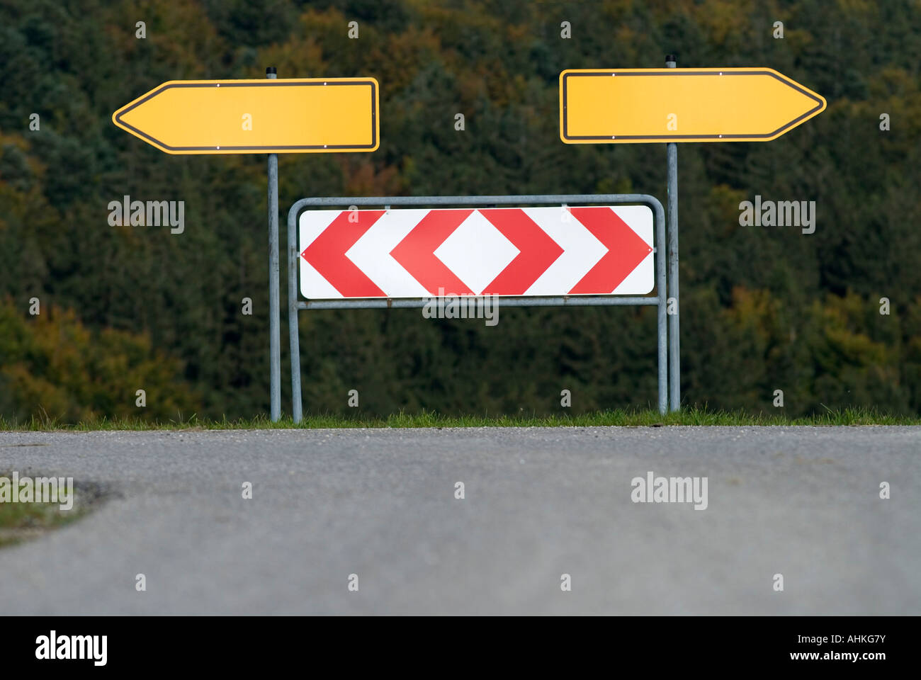 traffic sign arrows pointing left and right Germany Stock