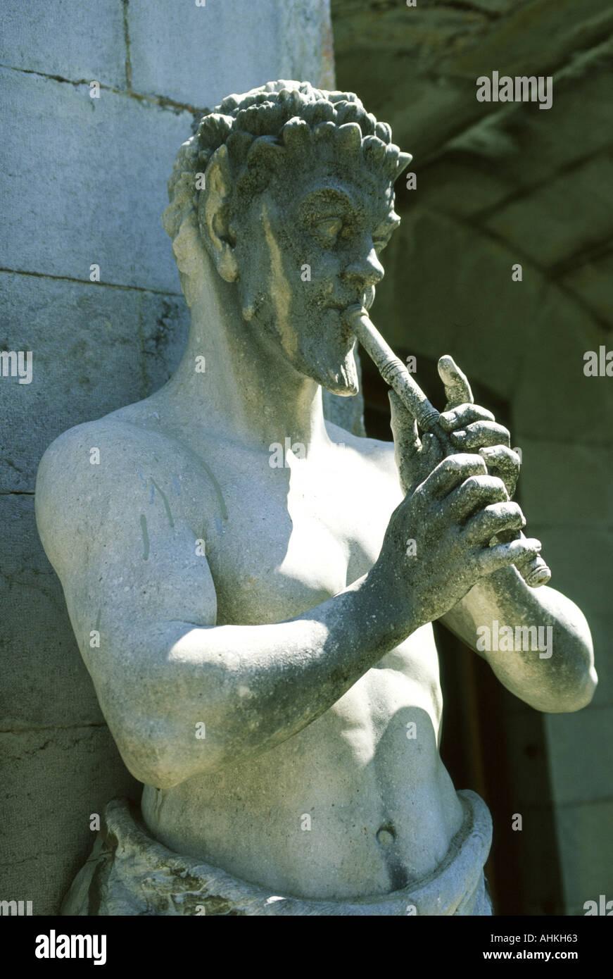 Statue of satyr Massandra palace Yalta Crimea Ukraine - Stock Image