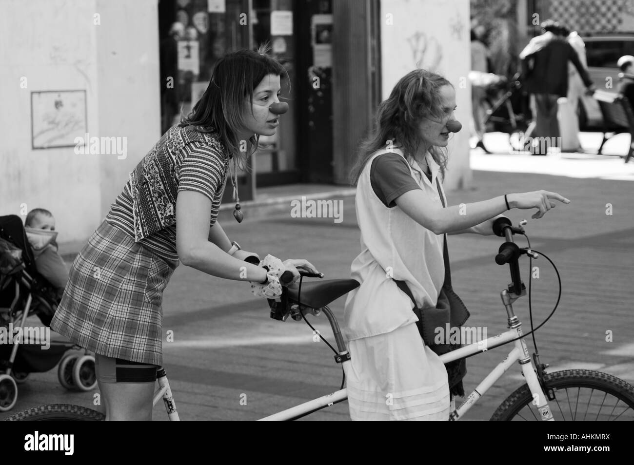 Female clowns in a street contemporary dance & theater festival.  Spain Square, Zaragoza, Aragón, Spain. - Stock Image