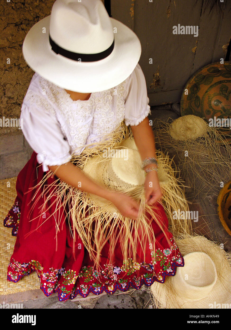 6fd9b5d5 Woman making Panama hat, Ecuador, South America Stock Photo: 4733256 ...