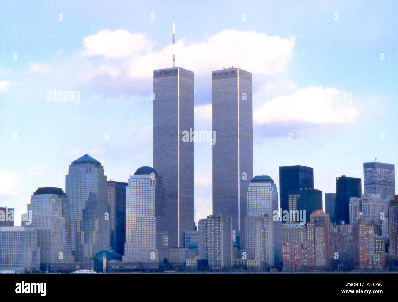 World Trade Center Twin Towers which no longer exist in New York City N Y USA - Stock Image