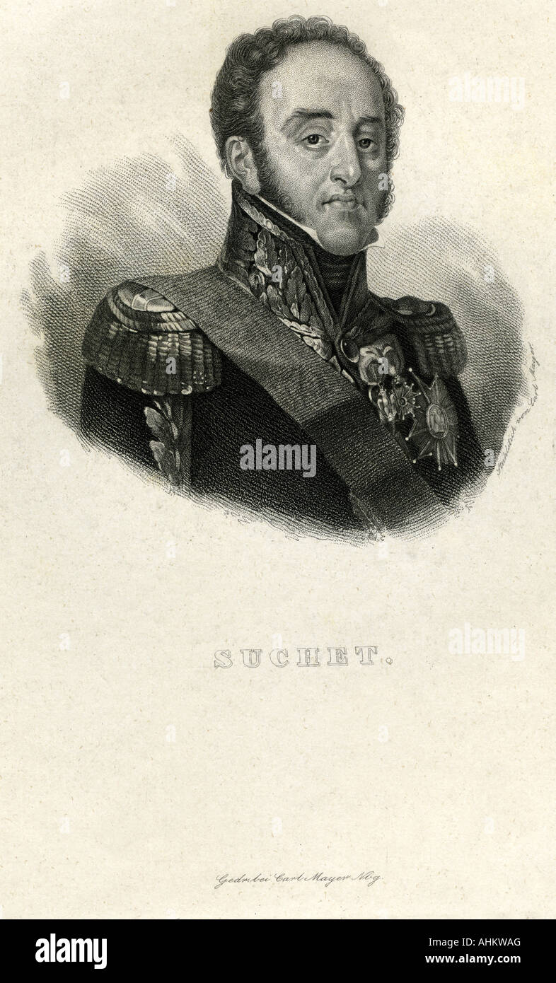 Suchet, Louis Gabriel, 2.3.1770 - 3.1.1826,  French General, portrait, steel engraving, France, 19th century, Artist's - Stock Image