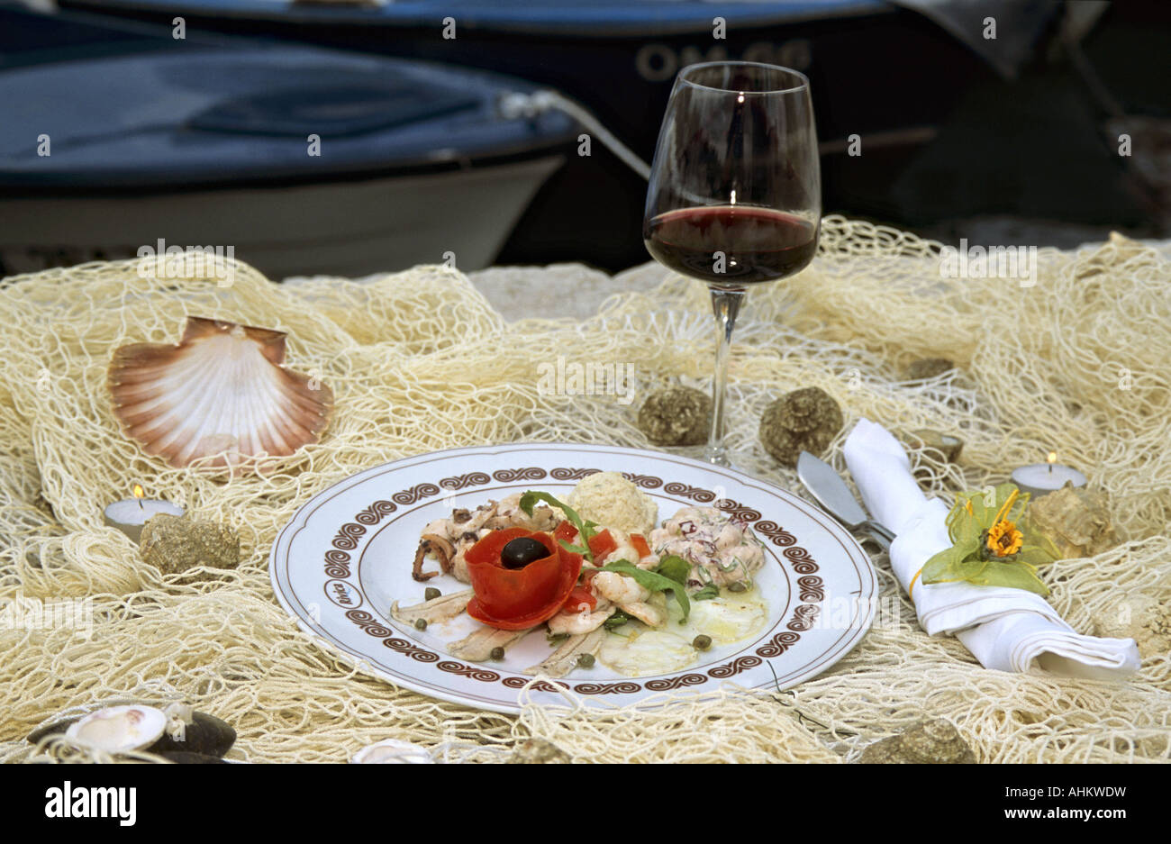 HRV Kroatien Krk Spezialitaeten Restaurant Rivica in Njivice Insel Krk Croatia Specialities Restaurant Rivica Njivice Stock Photo