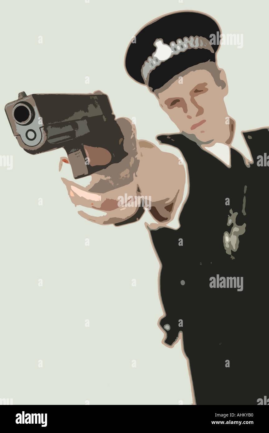 illustration drawing artwork of a police officer in uniform