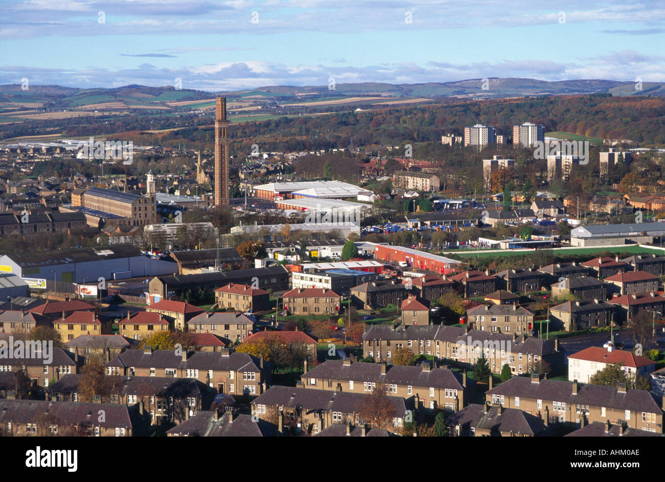 Old jute mills and housing Dundee from Dundee Law Scotland Stock Photo