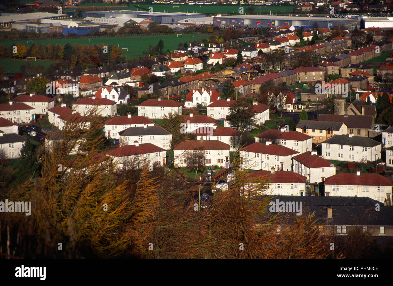 Old jute mills and housing Dundee from Dundee Law Scotland - Stock Image