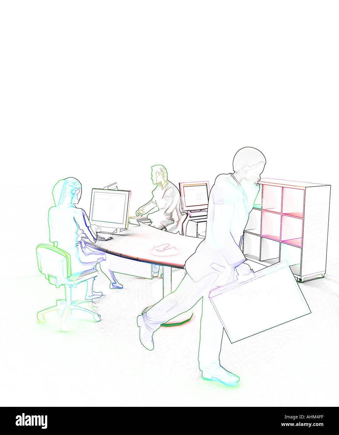 modern multi ethnic office - Stock Image