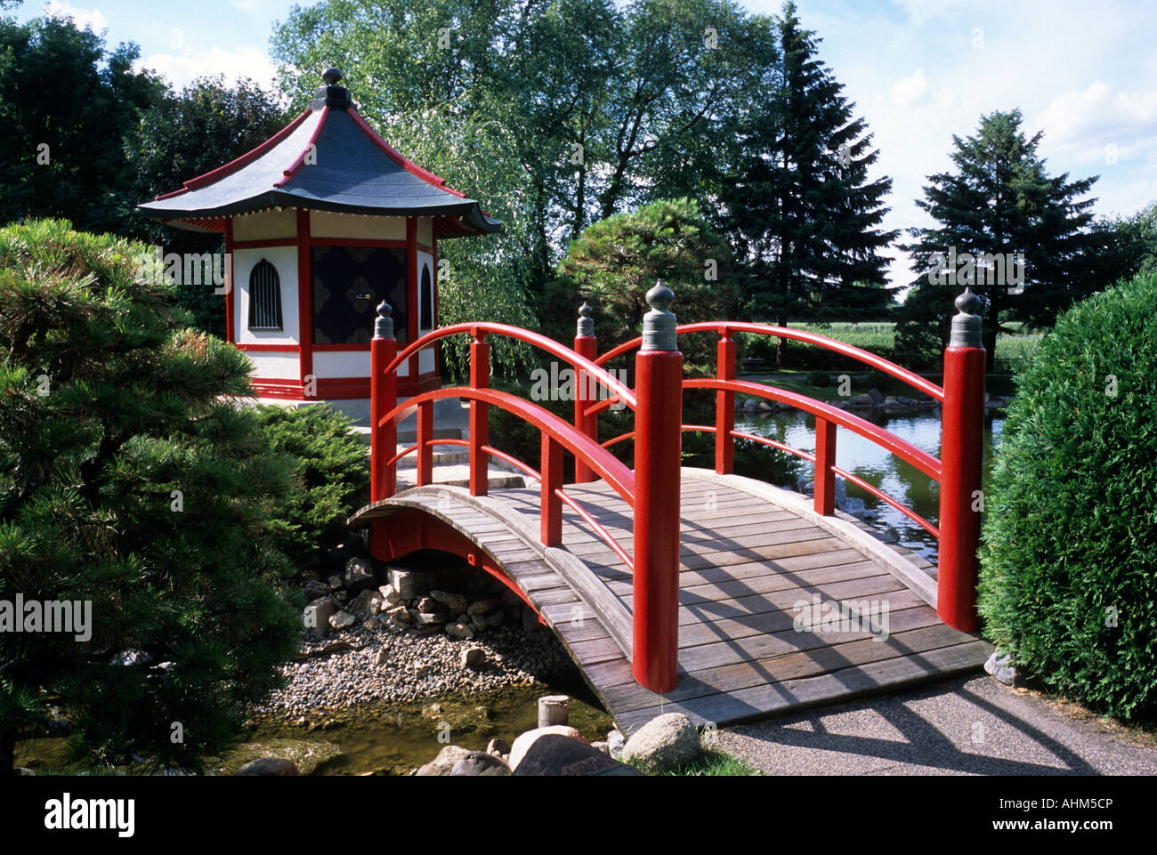 NORMANDALE JAPANESE GARDEN IN BLOOMINGTON, MINNESOTA. DESIGNED BY TAKAO WATANABE. MID-SUMMER.