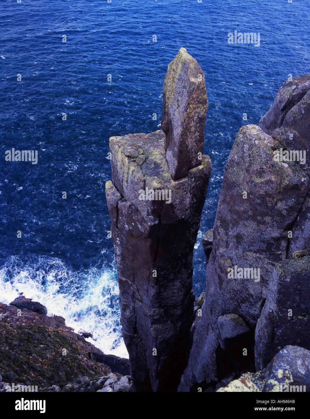 Dolerite Column at Cape Raoul Tasman National Park Tasmania Australia - Stock Image