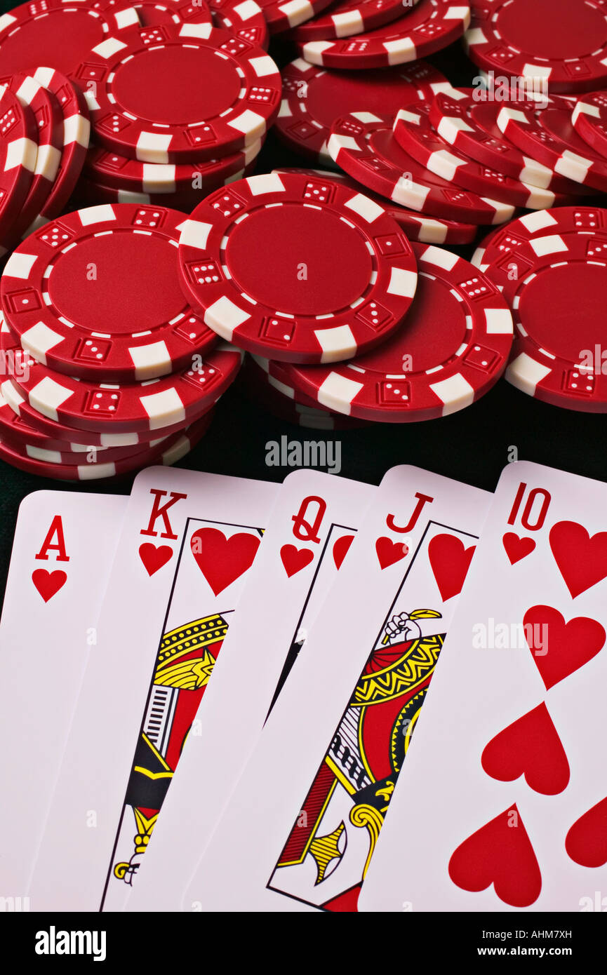 Playing cards and poker chips - Stock Image