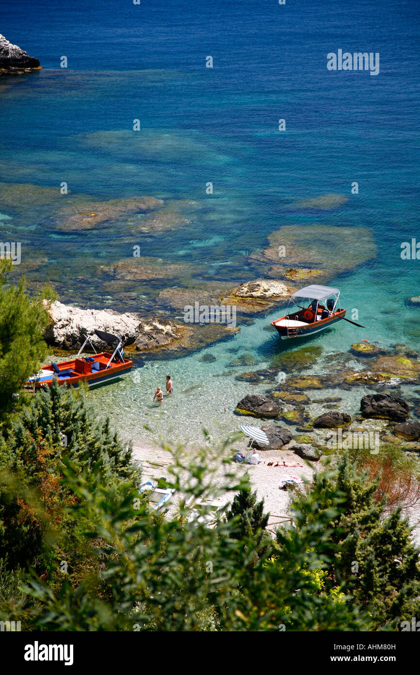View over the beach at Isola Bella island Taormina Sicliy - Stock Image