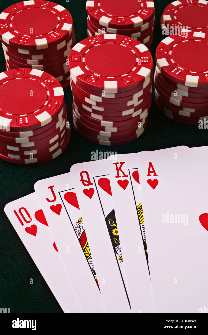 Playing cards and poker chips casino chips - Stock Image