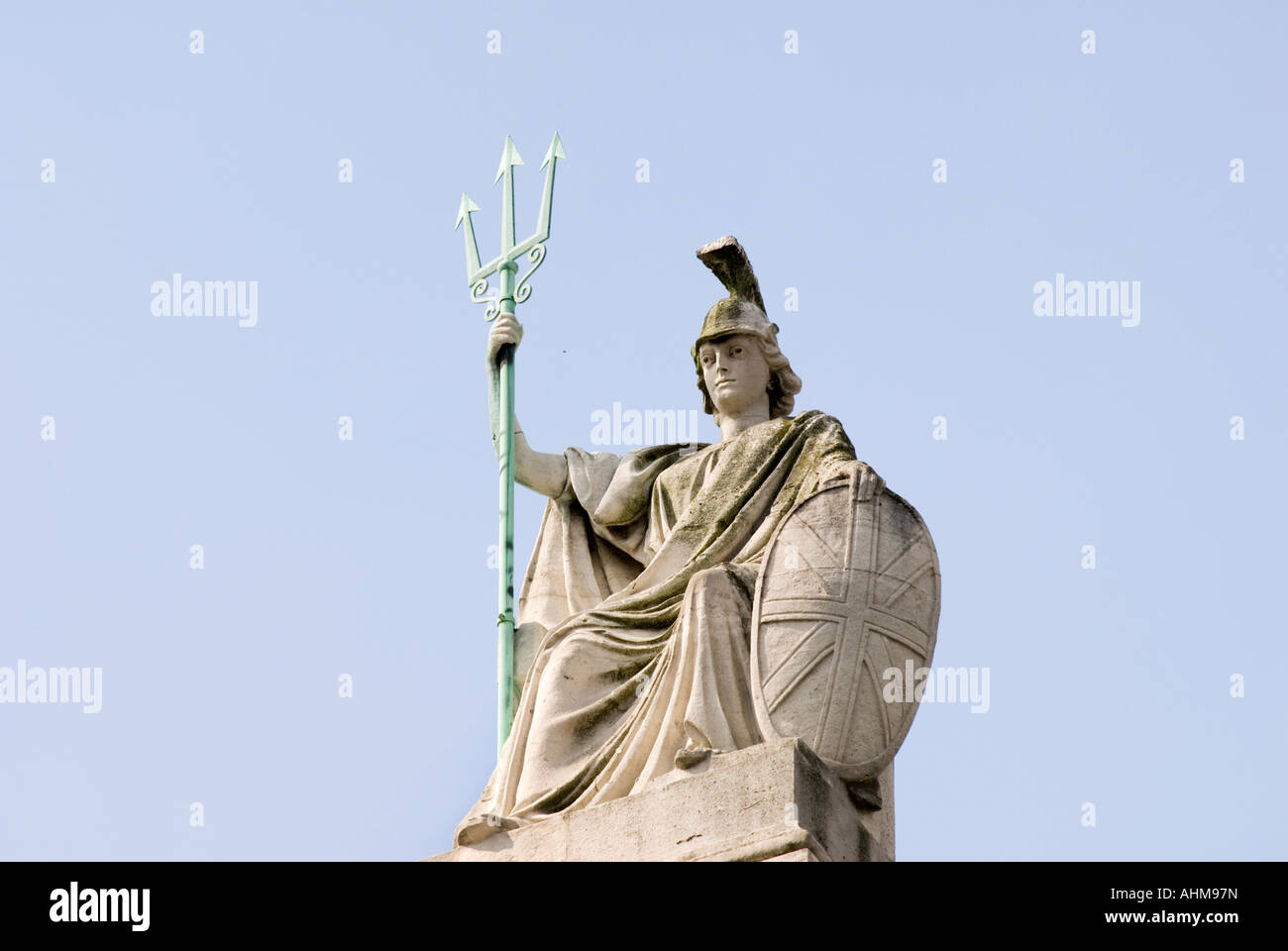 Sculpture of Britannia on the national gallery of British art Tate Britain in London UK - Stock Image