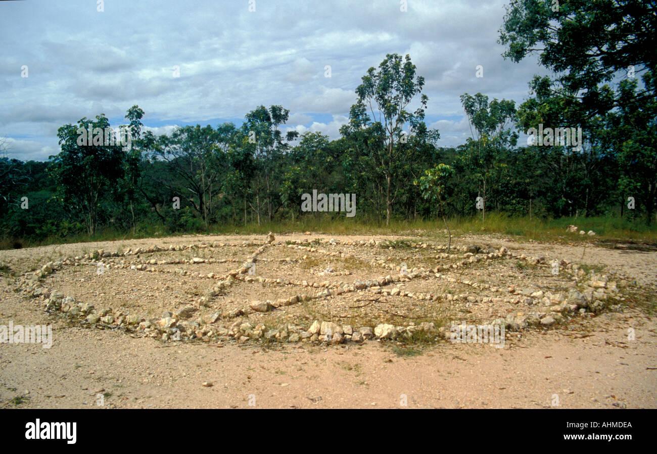 Brazil Chapada dos Veadeiros Sao Jorge Stone UFO circle - Stock Image