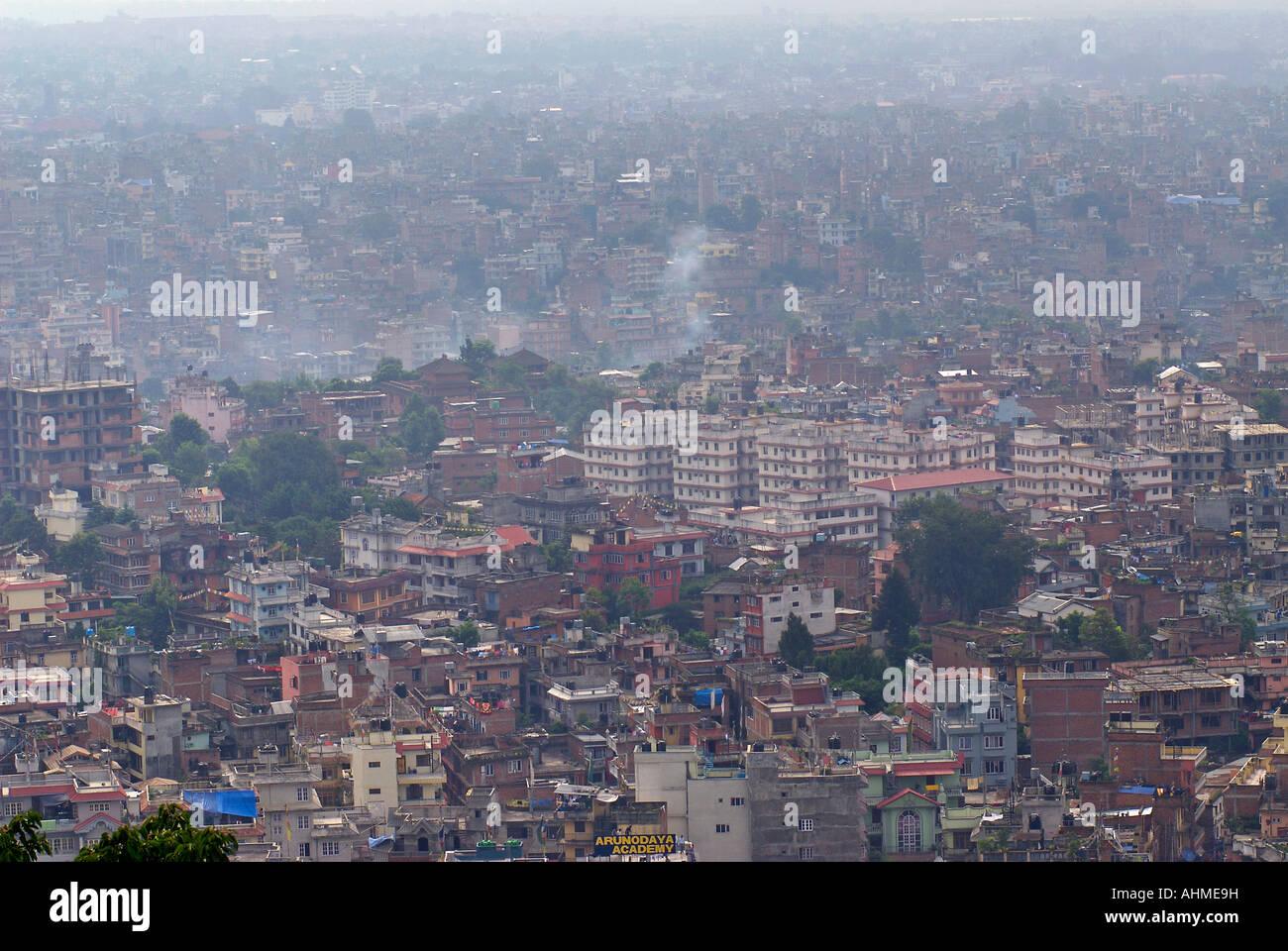 View of Kathmandhu from the temple at Swayambhunath Kathmandu Nepal - Stock Image