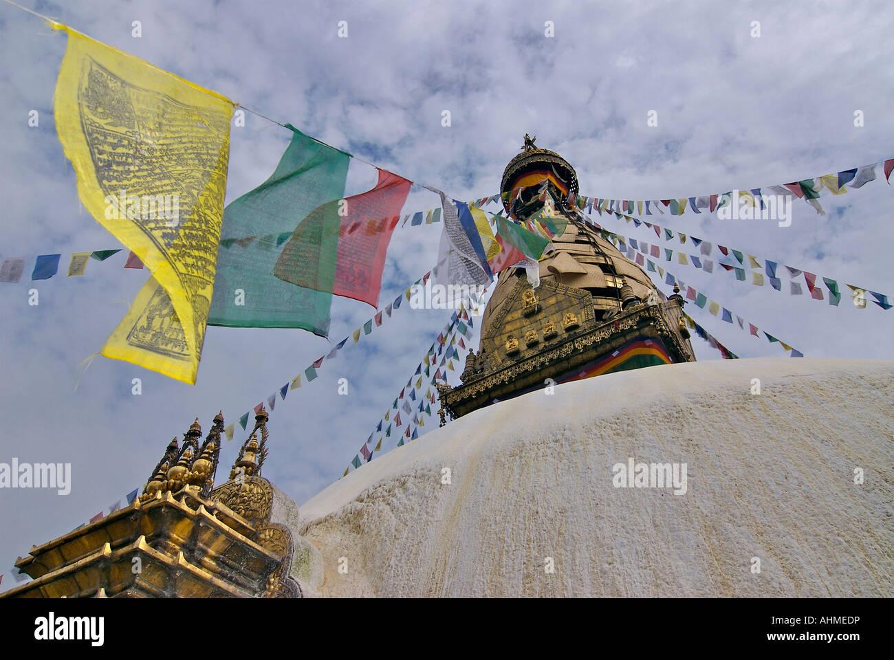 Swayambhunath Stupa Kathmandu Nepal. Prayer Flags - Stock Image
