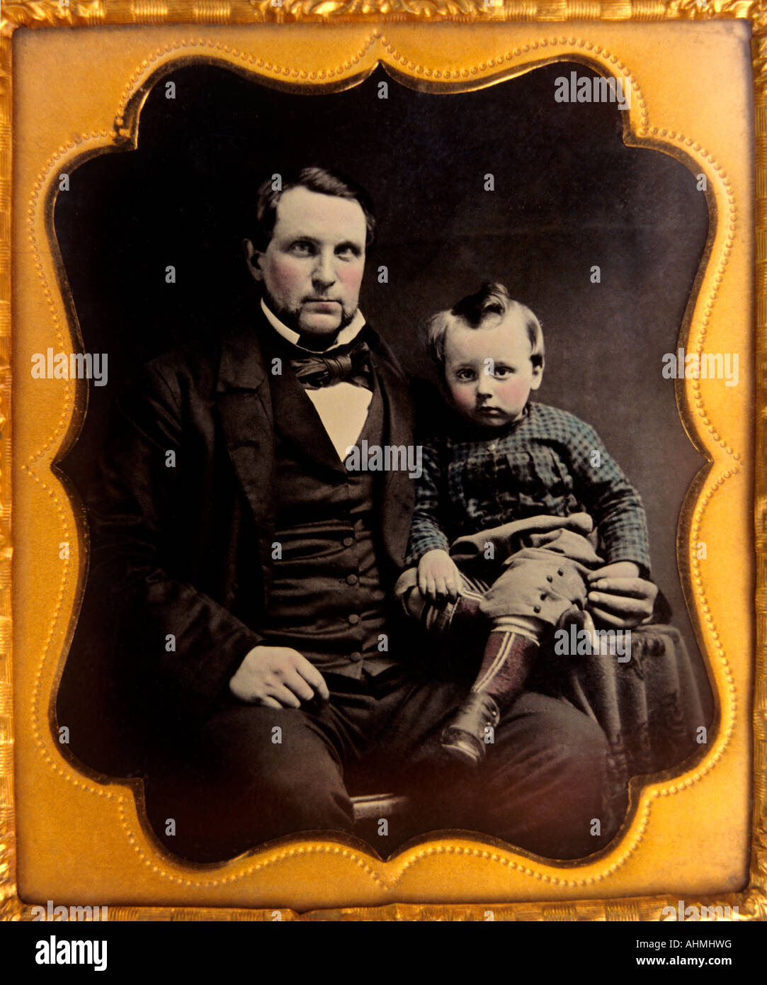 Photography ambrotype portrait of father and son circa 1850 60 - Stock Image