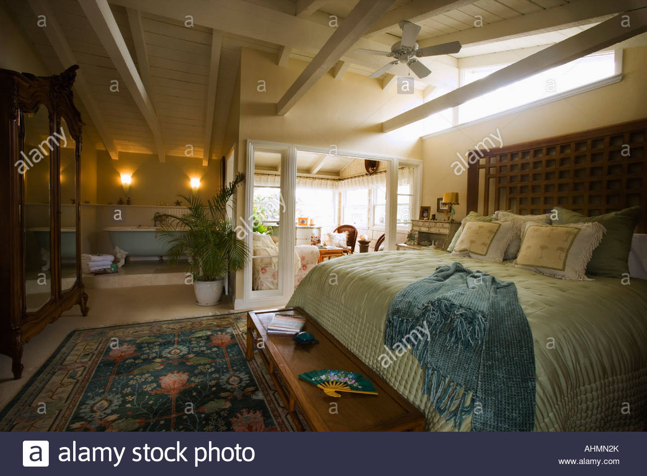 Large Master Bedroom with Claw Foot Tub - Stock Image