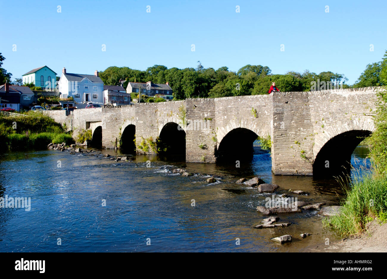 Arched stone bridge over the River Teifi at Llechryd Ceredigion West Wales UK Stock Photo