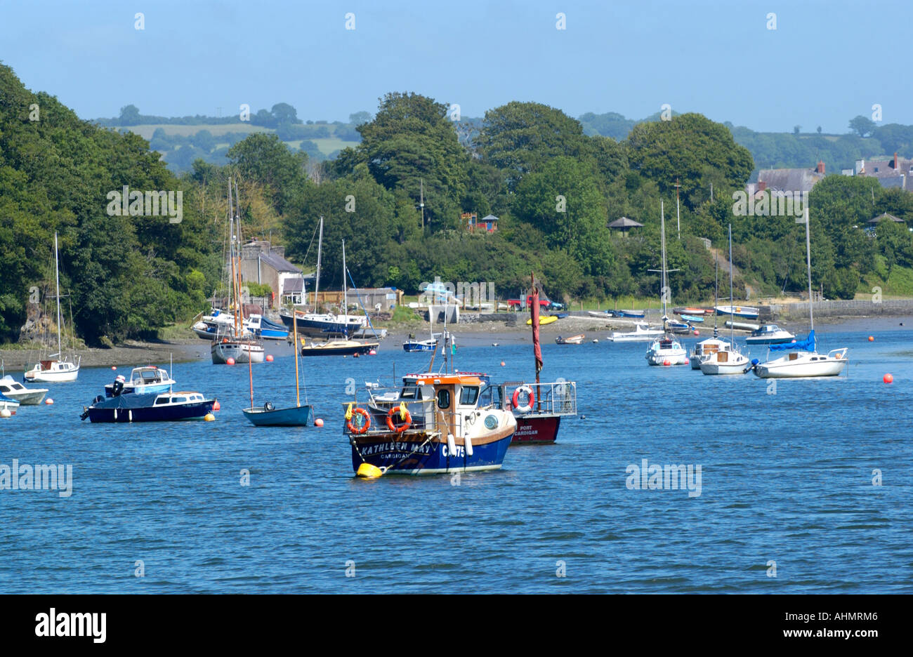 Boats moored in the River Teifi estuary at St Dogmaels Pembrokeshire West Wales UK looking upstream toward Cardigan Stock Photo