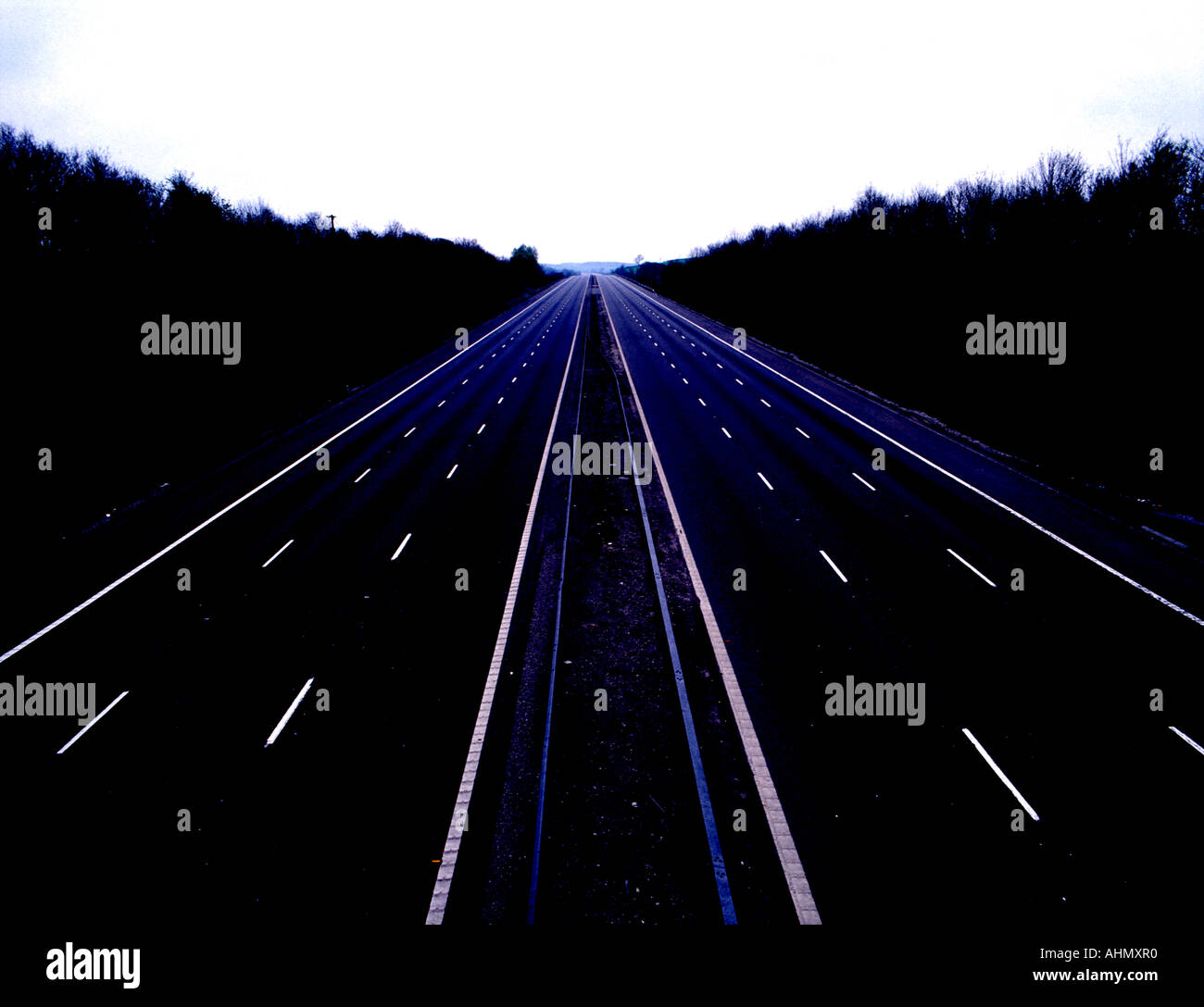 High View of Deserted Motorway M6,Midland, England, Staffordshire, A500, Junction  16, UK,GB,bomb,scare, - Stock Image