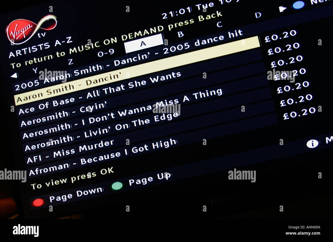 Detail of the music choices available to Virgin TV subsribers on