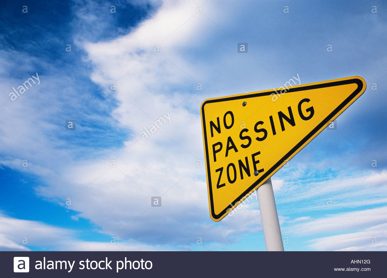 No Passing Zone road sign - Stock Image